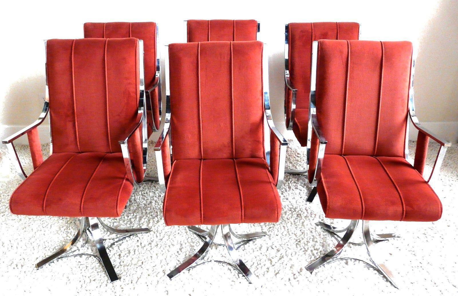 Mid Century Modern Chrome U0026 Rust Colored Velvet Swivel Chairs   Set Of 6