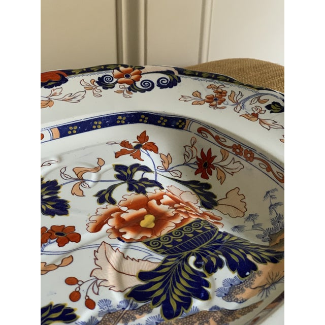 Minton Mid-19th C. Minton Amherst Japan Stone China Imari Style Meat Platter For Sale - Image 4 of 11