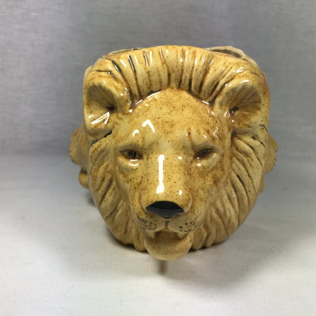 Hollywood Regency Mid-Century Lion Head Planter or Vase For Sale - Image 3 of 11