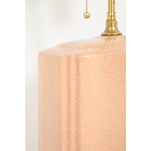 Pink Pink and Brass Crackle Glazed Ceramic Lamps - a Pair For Sale - Image 8 of 12