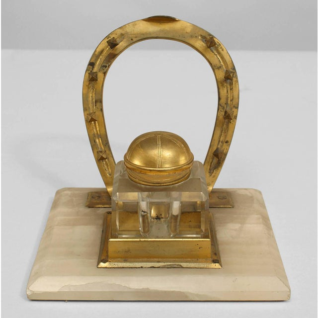19th century English bronze inkwell with crystal horseshoe cap and square white onyx base.