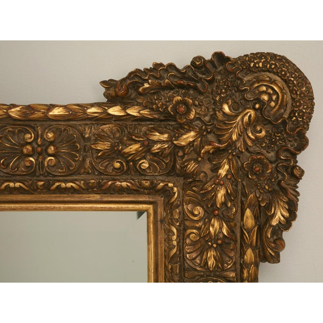 Giltwood Floor-Size 19th Century English Traditional Giltwood Reproduction Mirror For Sale - Image 7 of 9