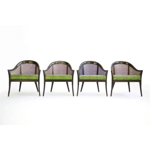Seats are original embossed leather faux Python design. Hand rubbed dark brown finsih on mahogany.