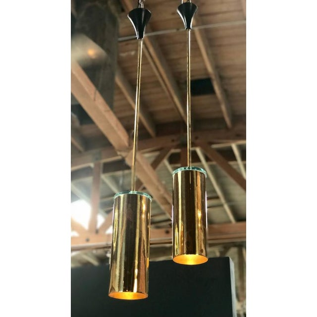 Pair of Italian Pendent in Brass and Glass, 1960s For Sale In Los Angeles - Image 6 of 8