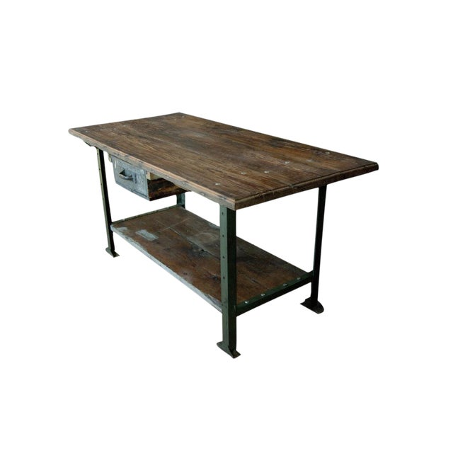 Industrial 1930's American Industrial Work Table For Sale - Image 3 of 3