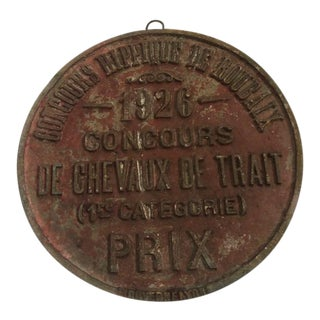 1926 Vintage French Country Horse Award Plaque