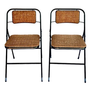 1950's Vintage Samsonite in Metallic Bouclé Tweed Steel Folding Chairs- a Pair For Sale