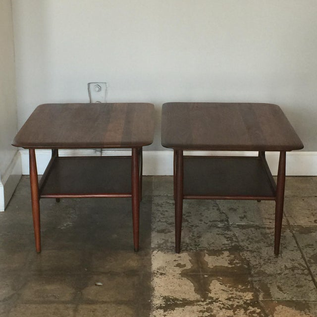 Brown Pair of Chic Two-Tier Walnut Side Tables For Sale - Image 8 of 8