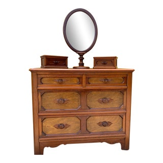 Antique 4 Drawer Dresser With Mirror & Jewelry Boxes For Sale