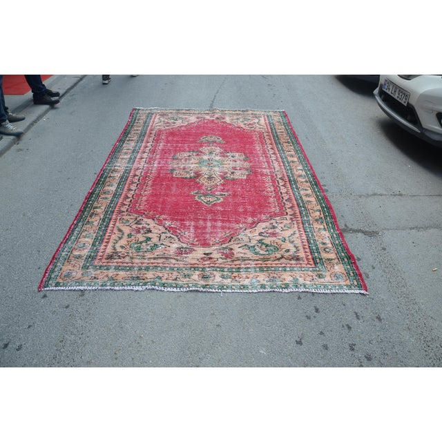 Textile Modern Turkish Oushak Handwoven Tribal Red Wool Floral Rug For Sale - Image 7 of 7
