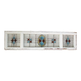 Antique Stained Glass Transom Window For Sale