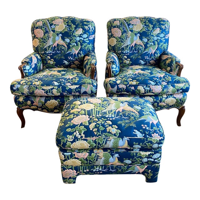 Vintage Quilted Chairs and Ottoman - Set of 3 For Sale