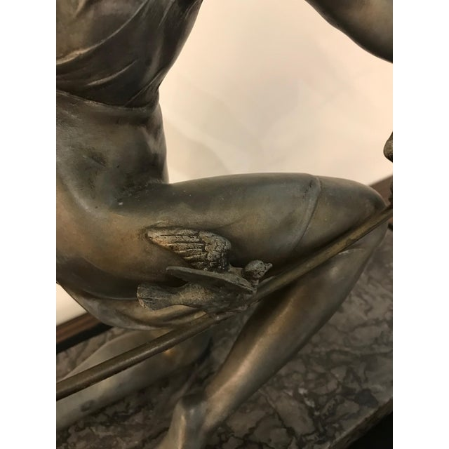 French Art Deco Female Sculpture on Marble For Sale - Image 10 of 13