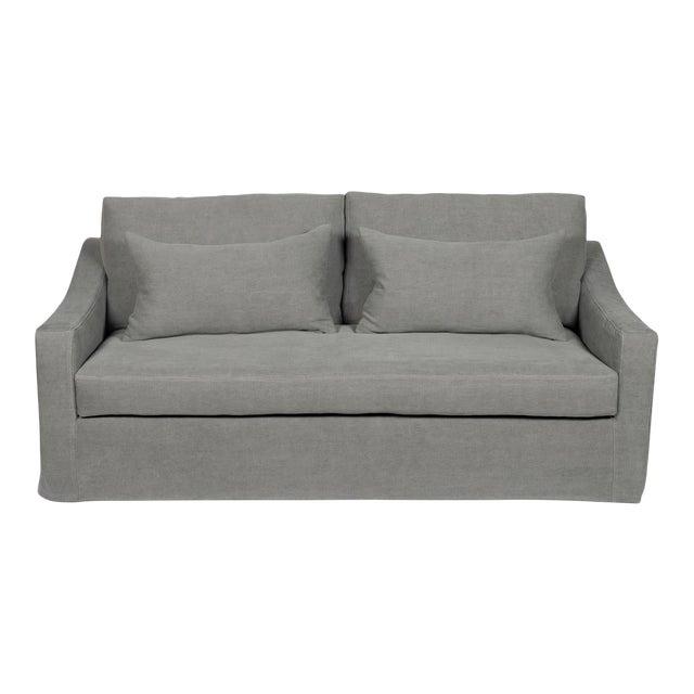 Moss Home Abram Sofa Stonewashed Linen Zinc For Sale