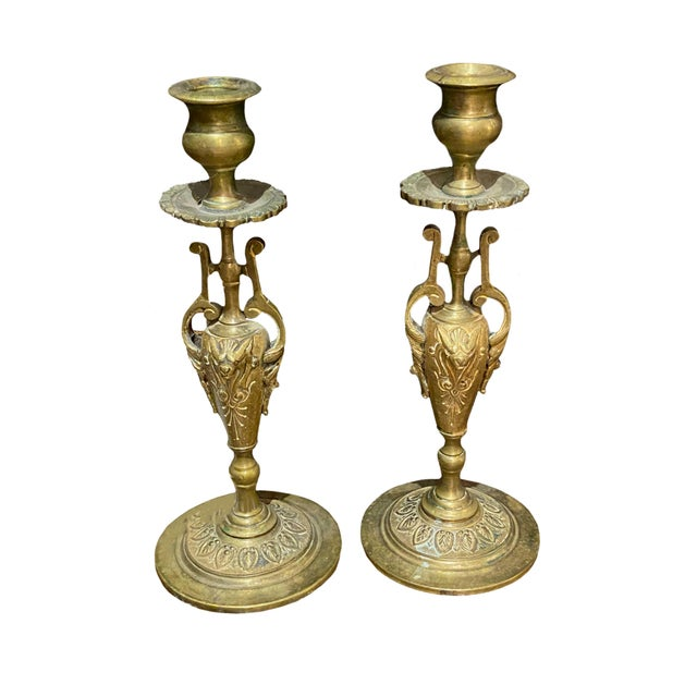 Antique French Bronze Candlesticks - a Pair For Sale In Dallas - Image 6 of 6