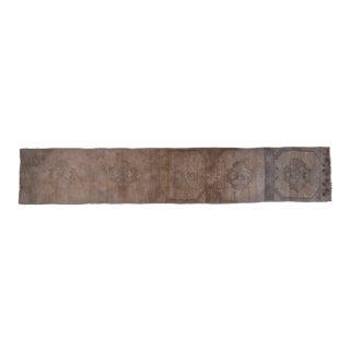 """Distressed Turkish Oushak Runner Rug 2'7"""" X 14'5"""" For Sale"""