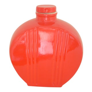 Hall Pottery Vintage Chinese Red Water Bottle For Sale