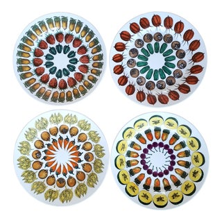 Piero Fornasetti Giostra DI Frutta Pattern Set of Four Plates For Sale