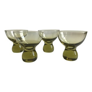 Vintage Mid-Century Modern Green Cordial Glasses - Set of 4
