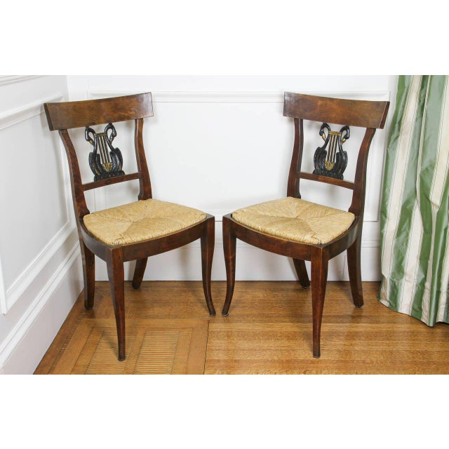 Set of Six Italian Neoclassic Walnut and Ebonized Dining Chairs For Sale - Image 10 of 10
