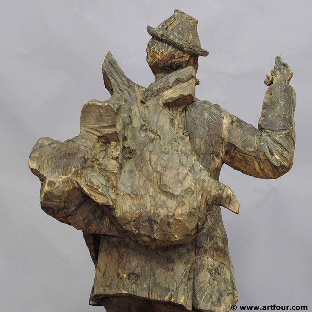 Black Forest A Large Unfinished Black Forest Poacher With Ibex Carving For Sale - Image 3 of 12