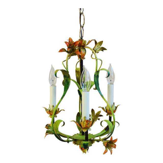 Vintage Italian Three Arm/Light Lily Flower Tole Chandelier For Sale