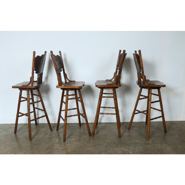 Country Style Solid Oak Bar Stools - Set of 4 - Image 6 of 9