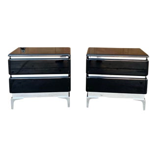 Mid-Century Black Lacquered Nightstands by Roger Rougier -A Pair For Sale