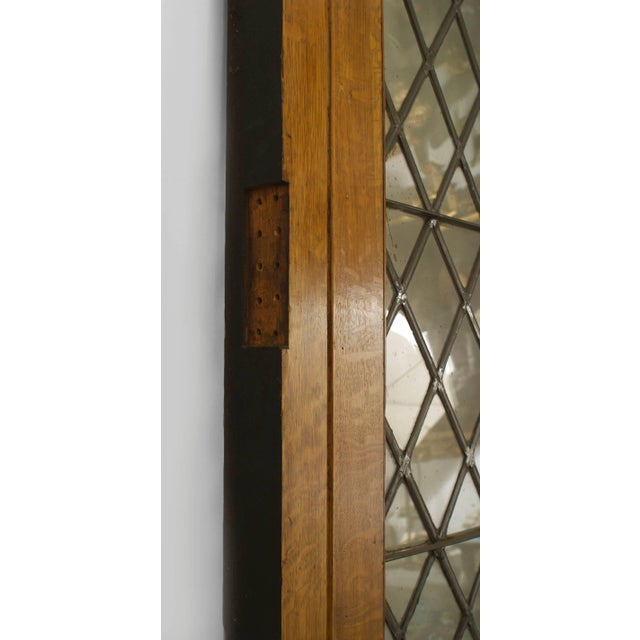 Brown Large Pair of 19th C. American Leaded Glass Golden Oak Doors For Sale - Image 8 of 9