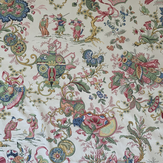 "Vintage Schumacher Chintz Style Japanese Asian ""Sayuri"" Screenprint Cotton Print Fabric- 4 Yards For Sale - Image 9 of 9"