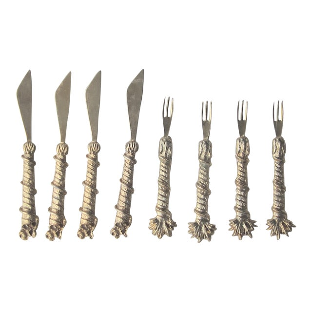 Mid-Century Mini Fork Knife Gold Plated Cocktail Appetizer Set - 8 Pc. For Sale