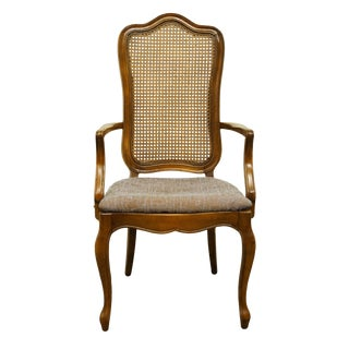 Late 20th Century Vintage Thomasville Furniture Tableau Collection French Provincial Cane Back Dining Arm Chair For Sale
