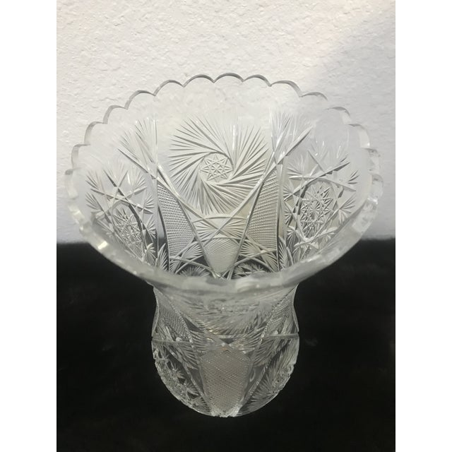Vintage Hand Signed Cut Crystal 2 Piece Hurricane Table Lamp For Sale - Image 9 of 13
