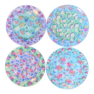 Set of 4 Vintage Floral Chintz Plates For Sale