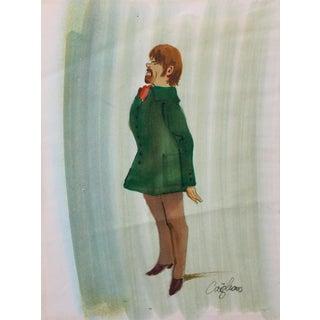 1970's Vintage Caricature Illustration, Green Coat For Sale
