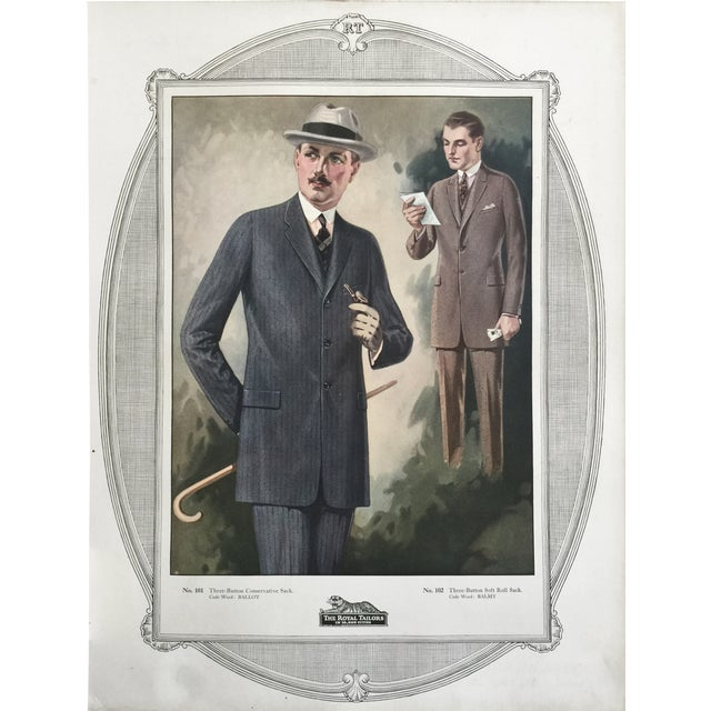 """1923 Tailor's Shop Poster for Men's Fashions 16"""" X 21"""" For Sale"""