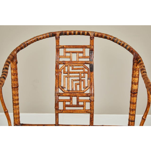 Wood 19th C. Chinese Bamboo Horseshoe Armchair For Sale - Image 7 of 10