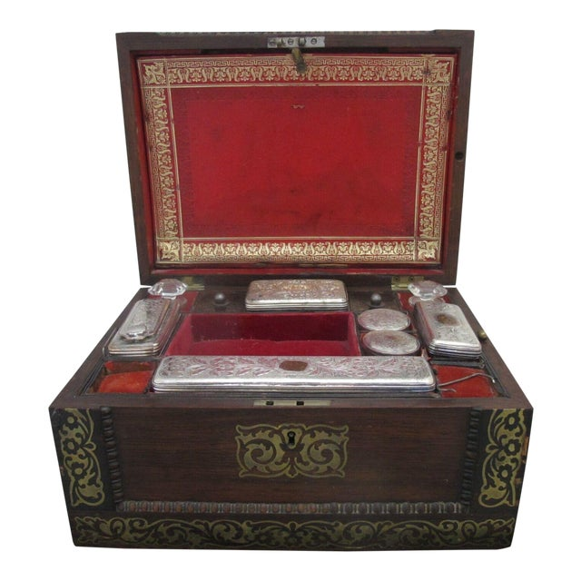 Antique Wood Vanity Jewelry Box Glass with Sterling Silver Jars & Key Betty Mono For Sale