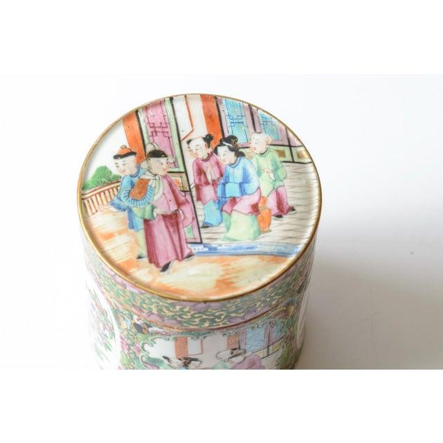 Rose medallion covered jar For Sale - Image 4 of 5