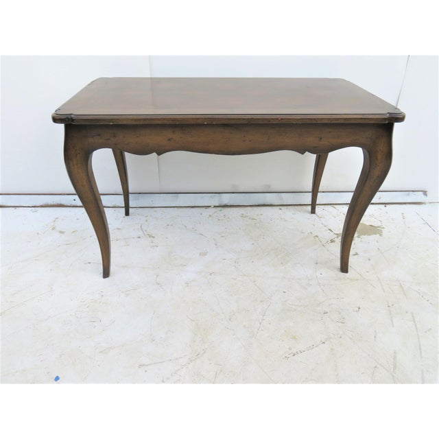 French Style Walnut Coffee Table with parquetry top scalloped skirt & cabriole legs.