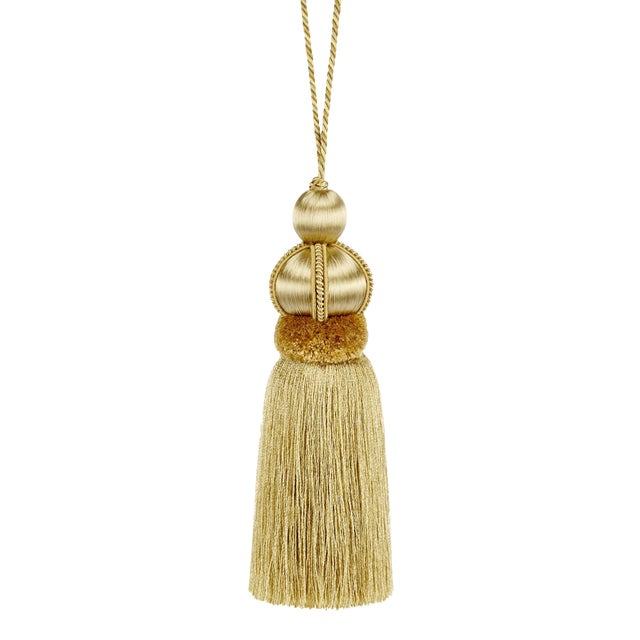 "Gold Key Tassel W Cut Ruche - Tassel Height - 5.75"" For Sale"