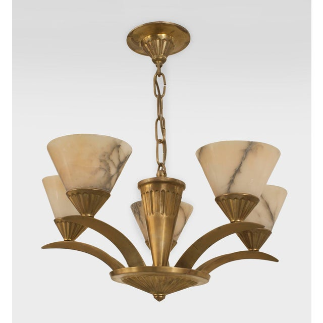 French Art Deco Brass (Circa 1925) Chandelier For Sale - Image 4 of 4