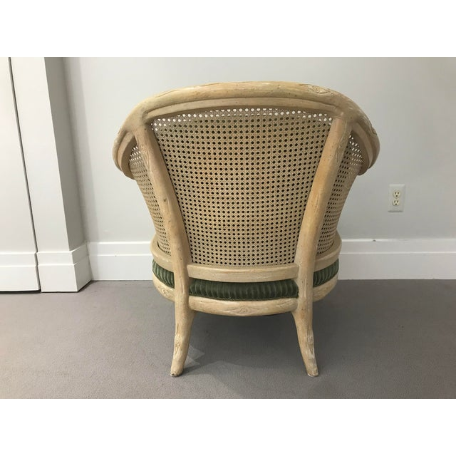 1960s 1960s Faux Bois / Cane Arm Chair With Green Corduroy For Sale - Image 5 of 13