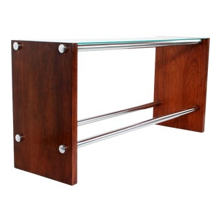Mid Century Modern Walnut & Chrome Glass Top Console Table For Sale