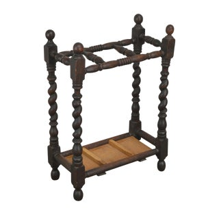 Antique English Oak Barley Twist Umbrella Stand For Sale