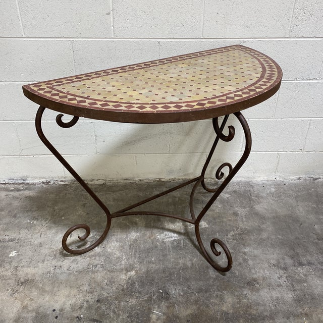 Terra-Cotta Mosaic Tile and Iron Console For Sale - Image 11 of 11