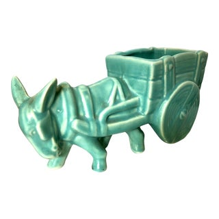 Vintage 1940's Pottery Donkey With Cart Planter For Sale