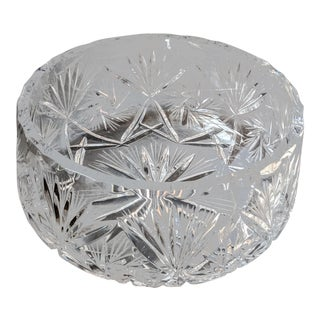 Vintage Heavyweight Lead Crystal Serving Bowl For Sale