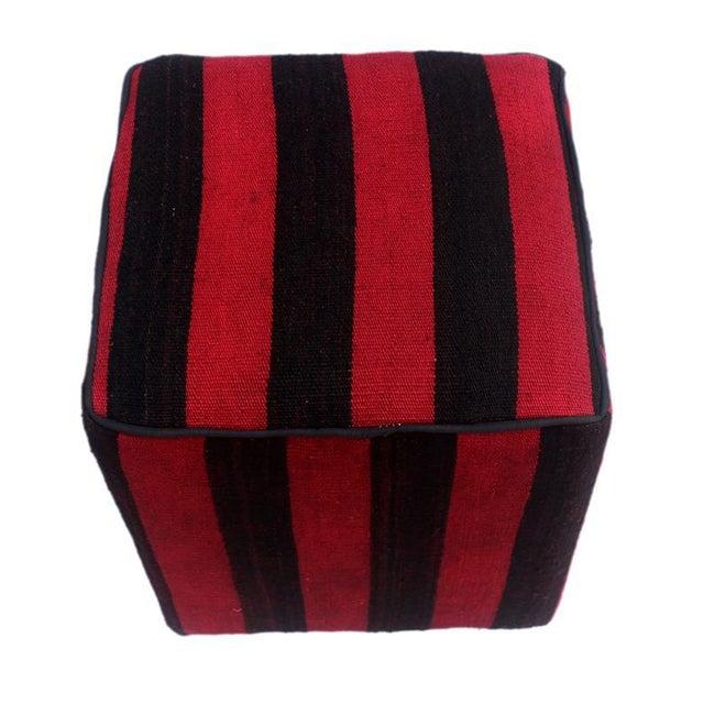 Arshs Domitila Red/Black Kilim Upholstered Handmade Ottoman For Sale - Image 4 of 8