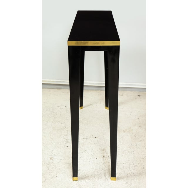 French Custom Ebonized Brass-Banded Consoles on Tapered Legs For Sale - Image 3 of 9